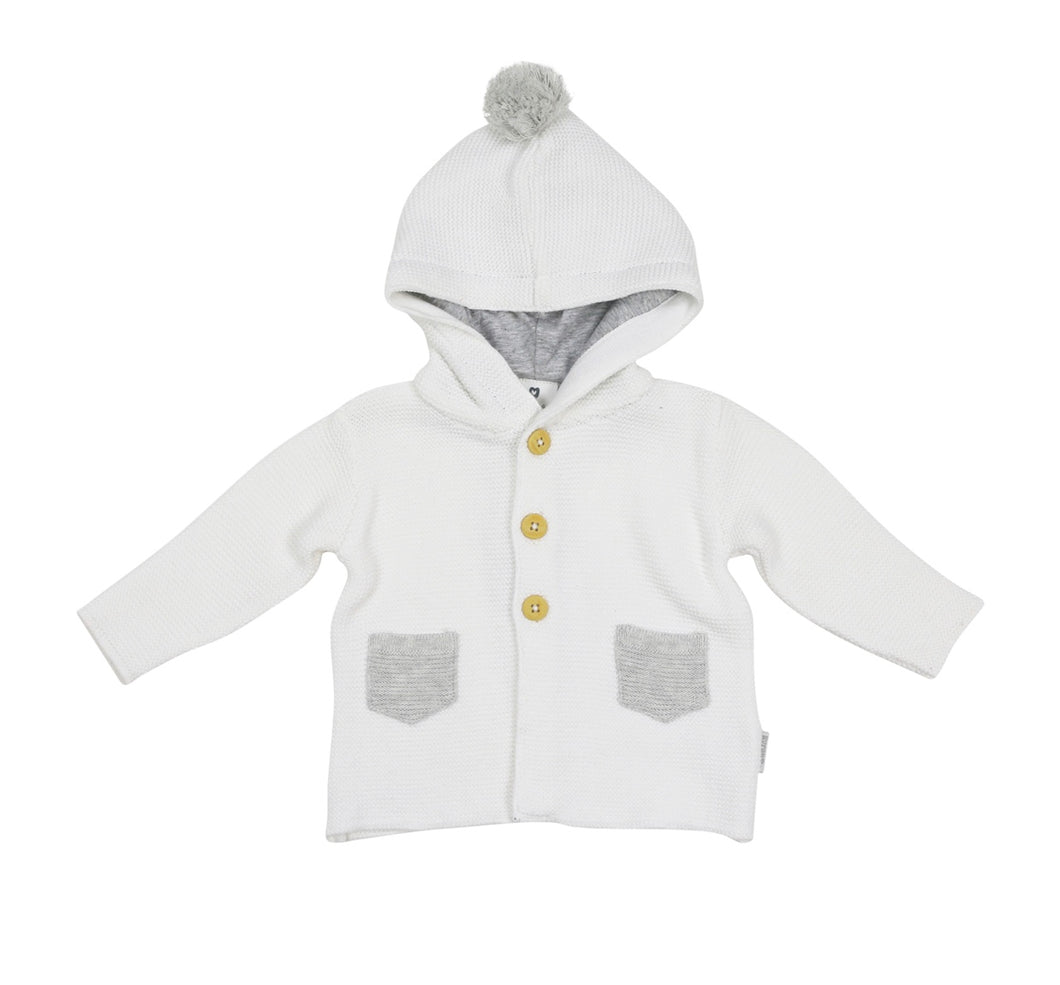 Korango Bunny Knit Jacket with a hood & contrasting grey pockets - white