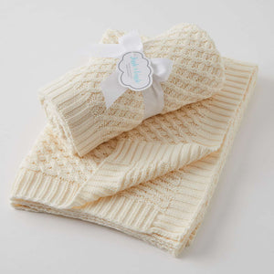 Jiggle & Giggle Cream Basket Weave Knit Blanket - Cream