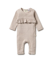 Load image into Gallery viewer, Wilson & Frenchy Wild Ginger Stripe Rib Ruffle Growsuit - Wild Ginger