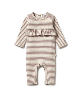Wilson & Frenchy Wild Ginger Stripe Rib Ruffle Growsuit - Wild Ginger