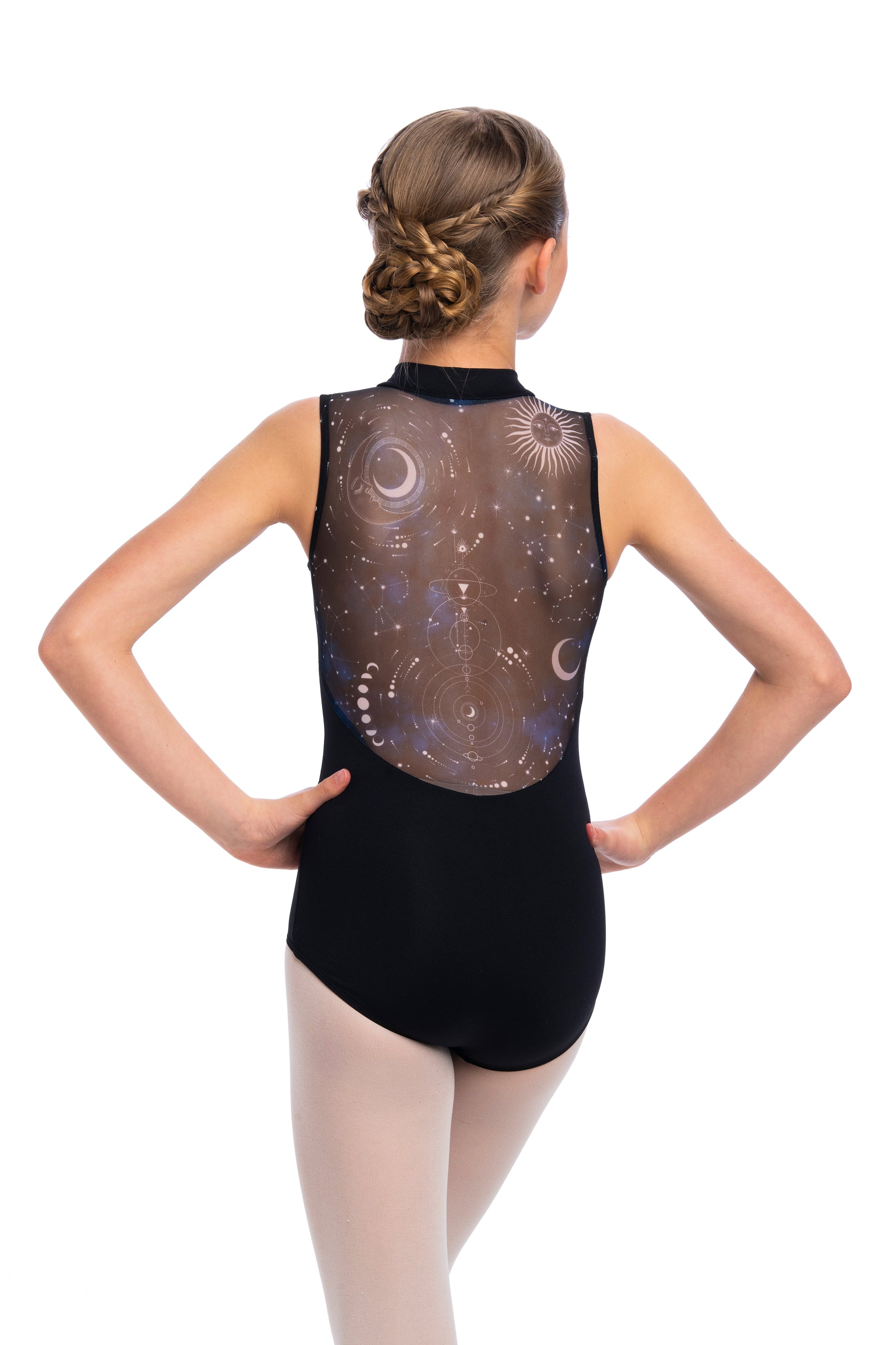 Zip Front Leotard with Night Sky Print- Girls