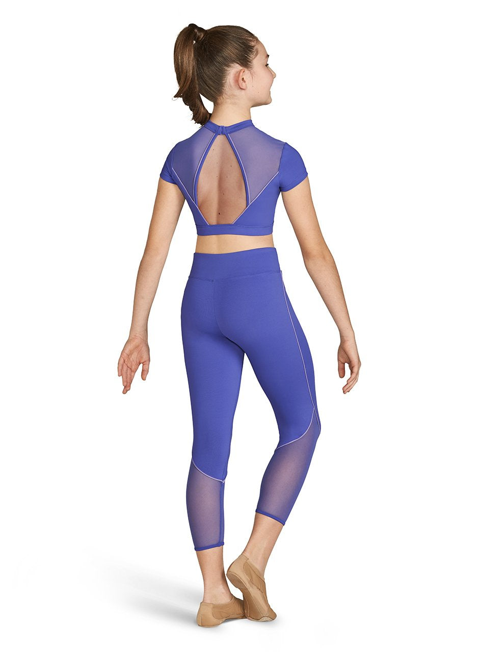 Bloch High Neck Crop Top with Contrast Piping