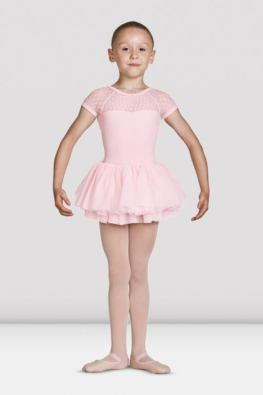 Gathered Neckline Cap Sleeve Tutu Leotard M1082C