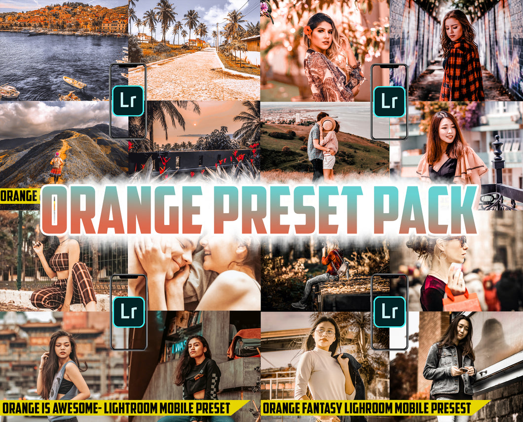 Orange Preset Pack - 4 Lightroom Mobile Presets 50% off