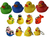 Waddlers Land & Sea Gift Pack of 12, 8 Themed Different Mini Rubber Ducky and Friend Keychains and 4 Different Color Kid's Palm Size Little Rubber Duckies Gift Pack