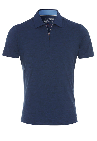 3393-92920 - Functional Polo Zip slim fit - blau - pureshirt