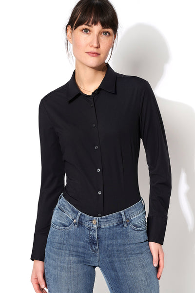 D21350-91900 PURE- Functional Bluse slim fit Langarm 001 schwarz