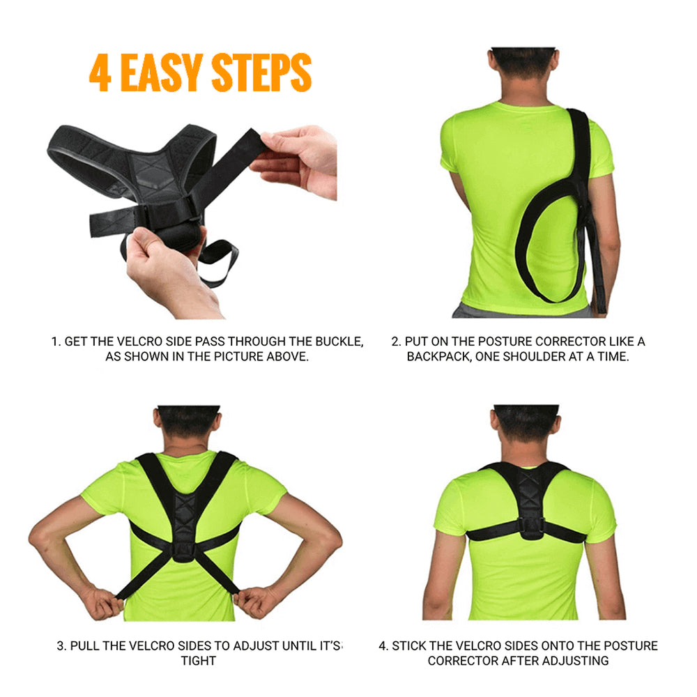 Posture corrector - 4 easy steps to put it on