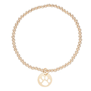 Load image into Gallery viewer, Classic Gold 3mm Bead Bracelet - Paw Print