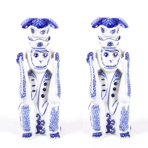 Blue Chinoiserie Monkey Candlestick