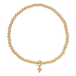Classic gold 3mm bead bracelet - Believe gold charm