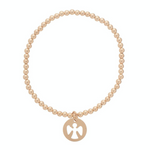 Glassic gold 3mm bead bracelet - Guardian Angel charm