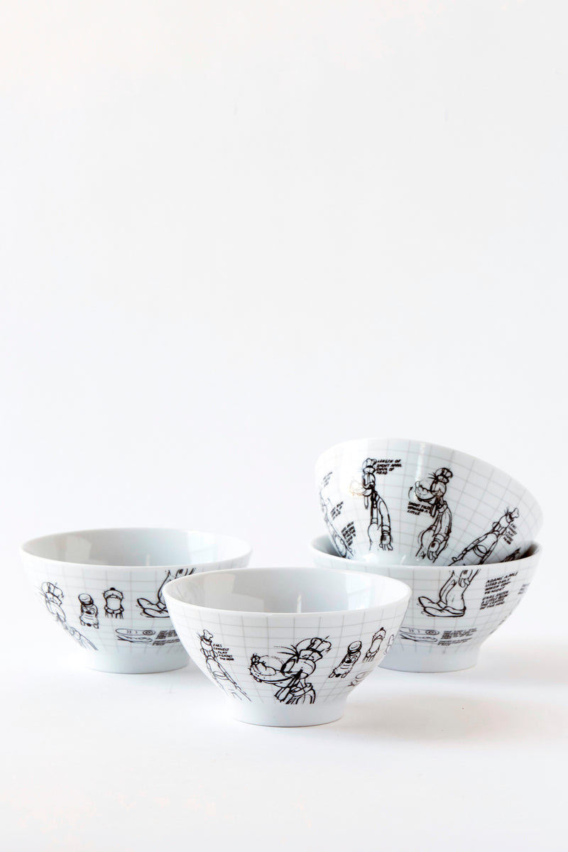 Goofy Sketchbook Cereal Bowl, S/4
