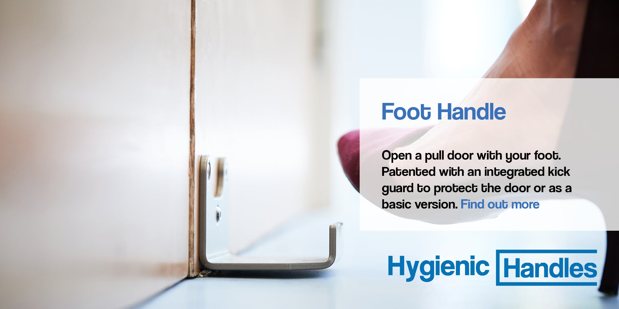 Hygienic Handles hands free door openers - Allows users to open the door without using their hands. Helps to create a Covid-secure environment and safe return to work. Hygienic Handles are manufactured in the UK.