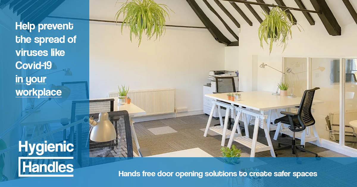 Hands-free door opening solutions from Hygienic Handles. Helping to create, safer, covi-secure workplaces