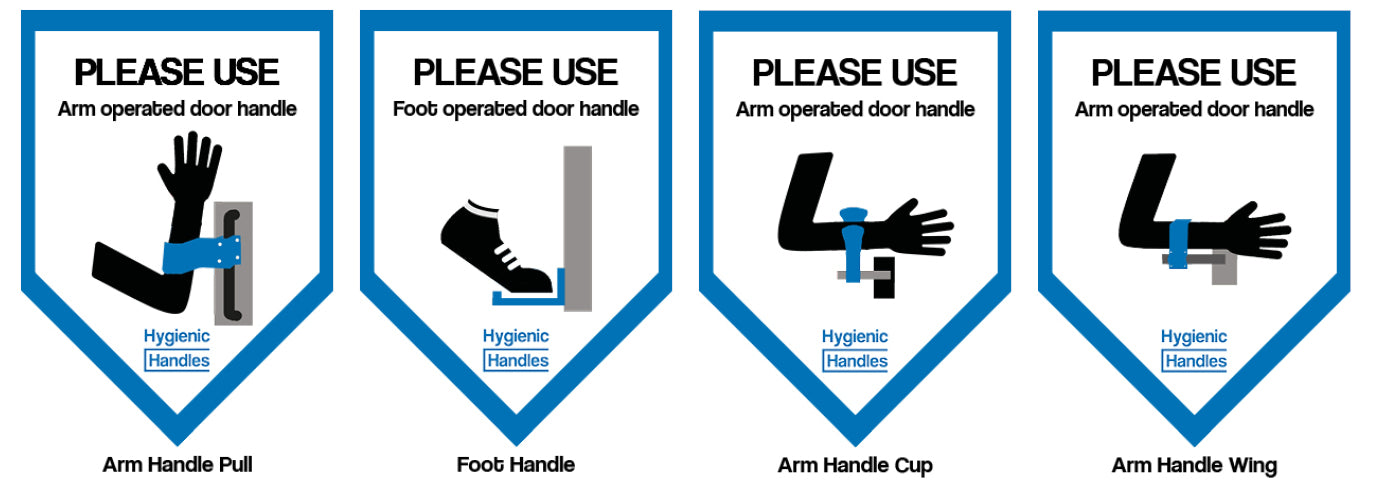 Hygienic Handles - Door Signage For Hands Free Handles and Foot Handles