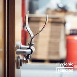 Hygienic Handles adapt doors to open & close by Arm or Foot, Hands-Free. Hands-free Arm Door Handle / Foot Handle / Foot Pull Handle.
