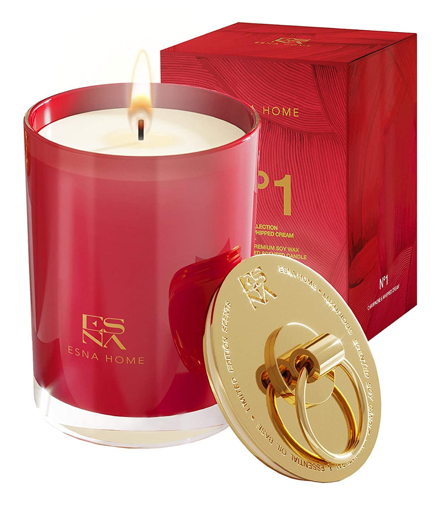 Luxury Scented Candles, All Natural Essential Oils Soy Candles 50 Hours Long Burning Gold Lid Candle, Perfect Bedroom Decor for Women, Romantic Champagne Scented Relaxing Candles, Anniversary Gifts