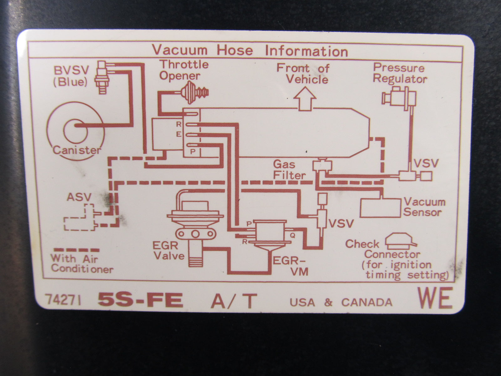 1997 Toyota Camry Vacuum Hose Diagram Electrical Wiring Diagrams 1994 Ignition On 1996