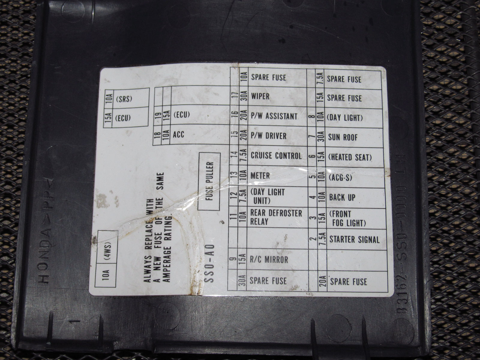 95 accord fuse box 92 93 94 95 96 honda prelude oem interior fuse box cover  92 93 94 95 96 honda prelude oem