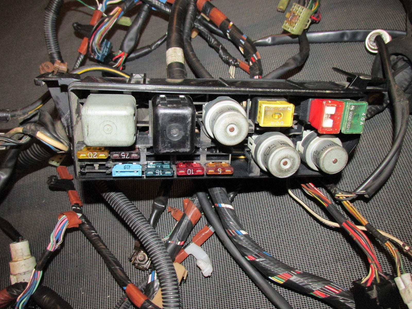 87 88 89 Toyota MR2 OEM Engine Fuse Box Wiring Harness - Tail Light Fuse Box Wiring Harness on fuse box assembly, power window switch wiring, fuse box components, fuse box safety, fuse box relays, ignition switch wiring, fuse box plug, fuse box electrical, fuse box mounts, fuse box connectors, fuse box terminals, fuse box speakers, fuse box electricity, fuse box transformer, fuse box dimensions, fuse box fuses, fuse box grounding, fuse box engine, fuse box repair, fuse switch box,