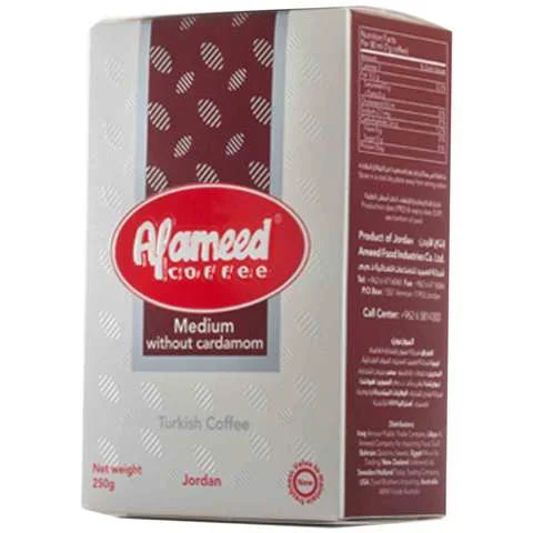 Alameed Coffee Medium Without Cardamom 250 Gram - MartDeliver