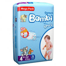 Bambi Diapers Mega Pack Large 78 Pieces - MartDeliver
