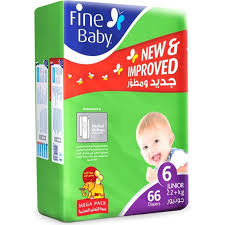Fine Baby Daipers Junior Mega Pack 66 Daipers - MartDeliver