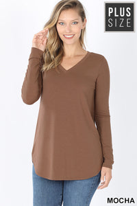 PLUS LONG SLEEVE V-NECK ROUND HEM