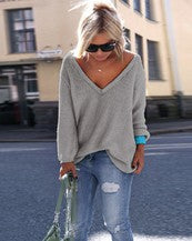 Load image into Gallery viewer, V Neck Pullover Loose Sweater