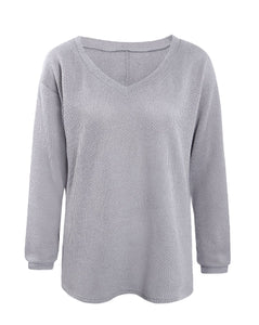 V Neck Pullover Loose Sweater