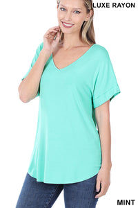 SHORT CUFF SLEEVE V-NECK TOP - MINT
