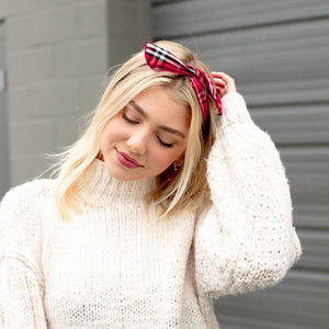 Wire Headbands - Red Plaid