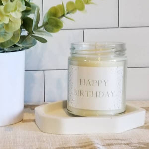 Happy Birthday Dots Label Soy Candle by Abboo Candle Co