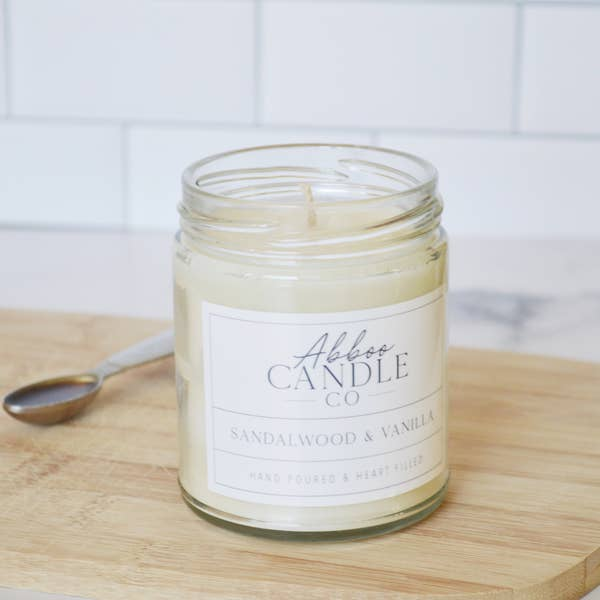Sandalwood & Vanilla Soy Candle by Abboo Candle Co