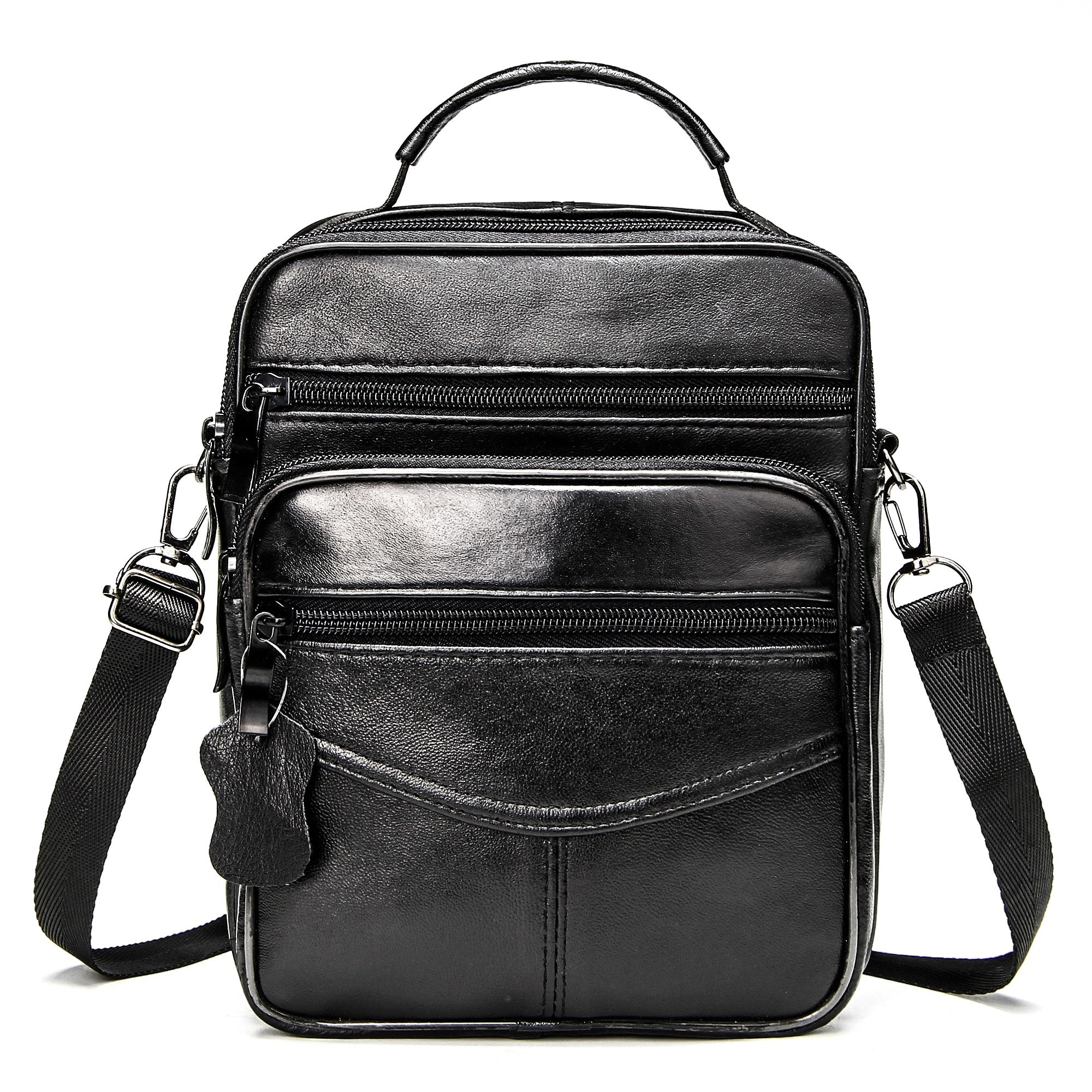 Leather Men's Handbags Casual Black Bags