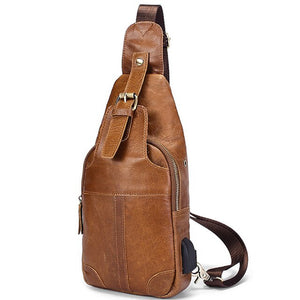 Men'S Leather Chest Bag Usb Charging