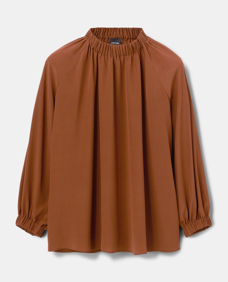 Silk Gathered Neck Blouse - Burnt Sienna