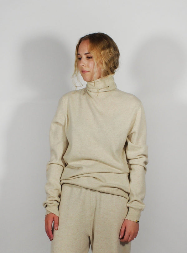 Roll Neck Jumper Open Eye Detail - Off White