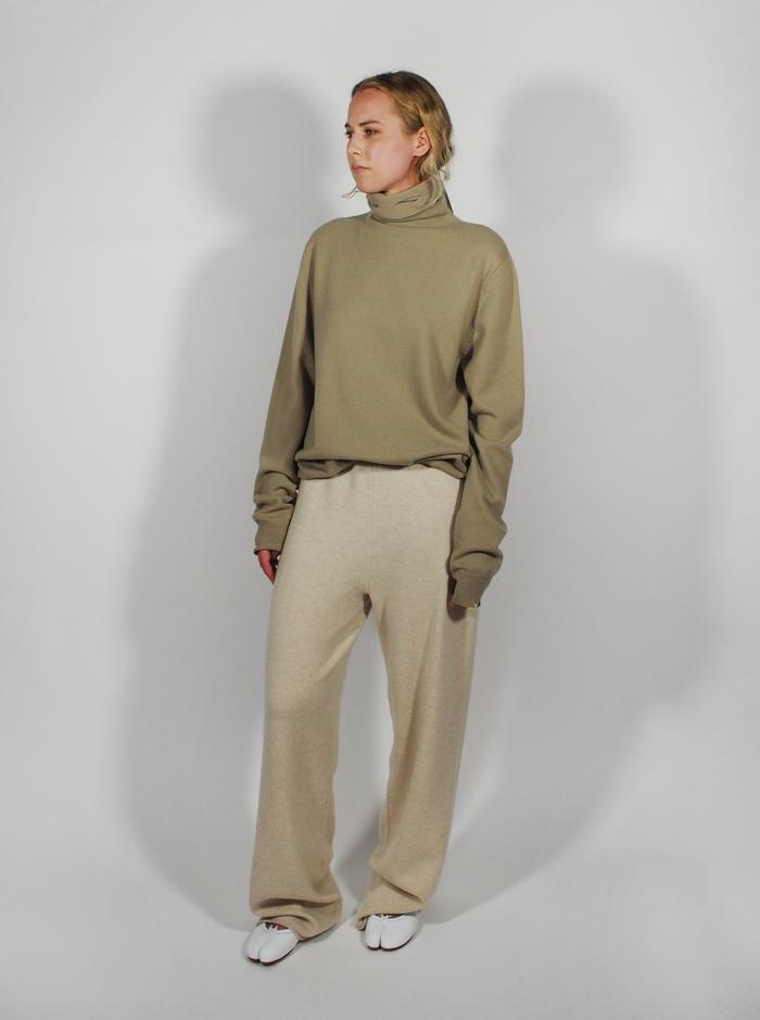 Roll Neck Jumper Open Eye Detail - Taupe