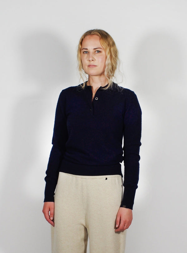 Long Sleeve Cashmere Polo - Navy Blue