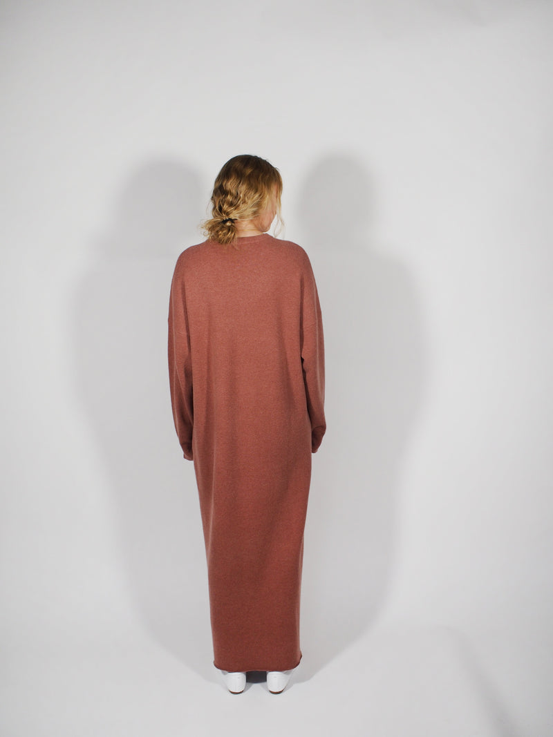 Cashmere L/S Crew Dress - Rasin