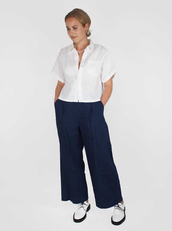 Yarn Dyed Linen Pant - Blue