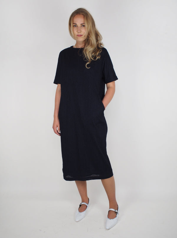 Lace Cocoon Dress - Navy Blue