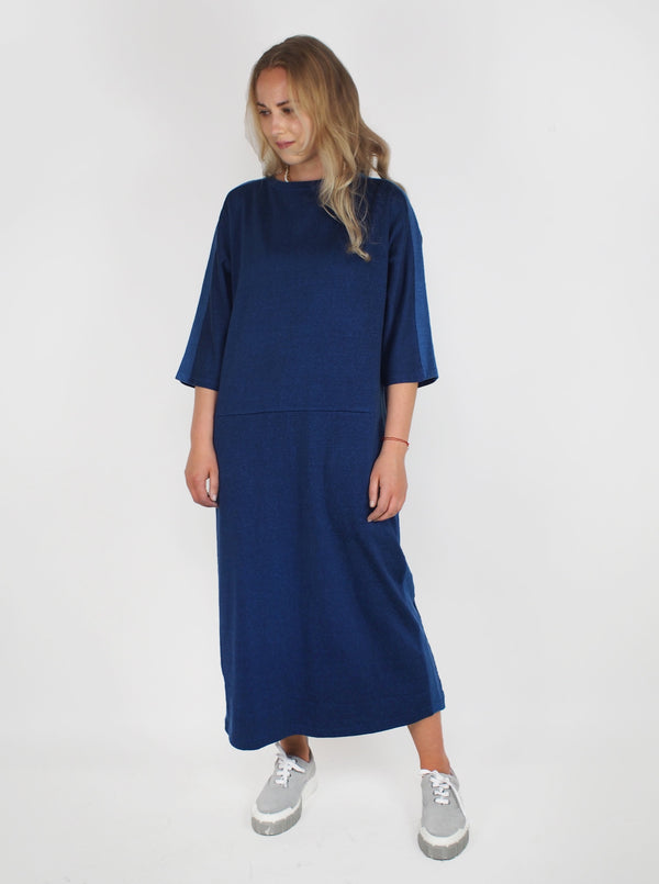 Rayon Plaited Cutover Dress - Blue