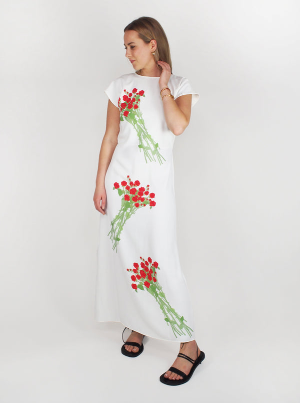 Anne Crepe Dress - Red & White