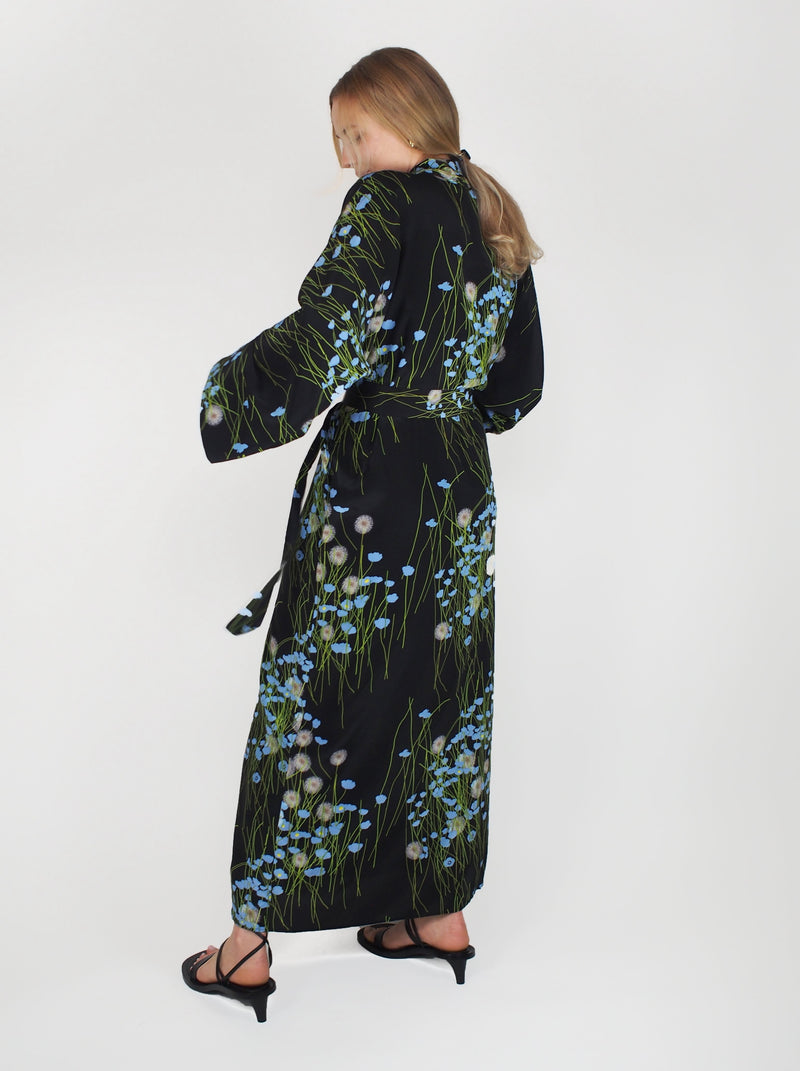 Piegnoir Silk Crepe Dress - Blue & Black
