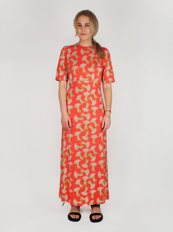 Jeanne Viscose Dress - Pink & Red
