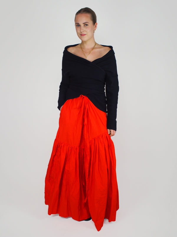 Five Long Washed Skirt - Red