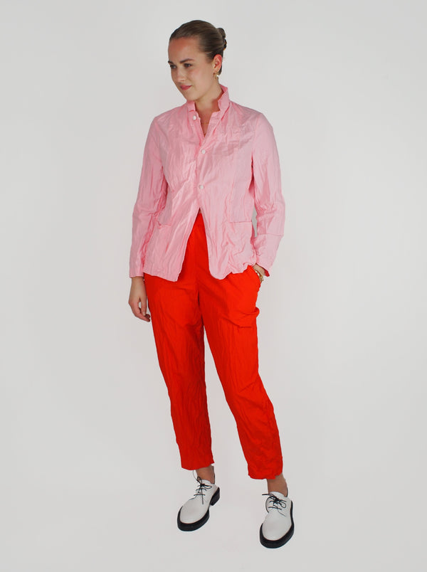 Washed Elastic Cigarette Pant - Red